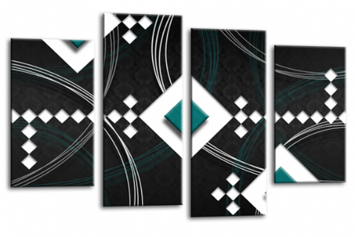 Modern Abstract Wall Art Picture Black White Teal Canvas Print
